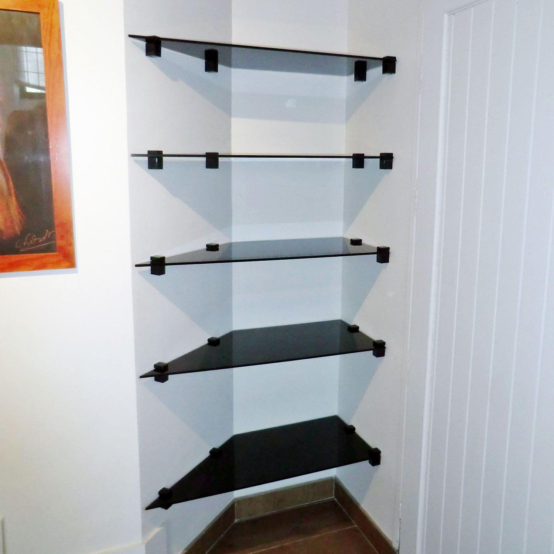 tag re en verre noir tremp sur mesure tag res en verre sur mesure pinterest content and. Black Bedroom Furniture Sets. Home Design Ideas