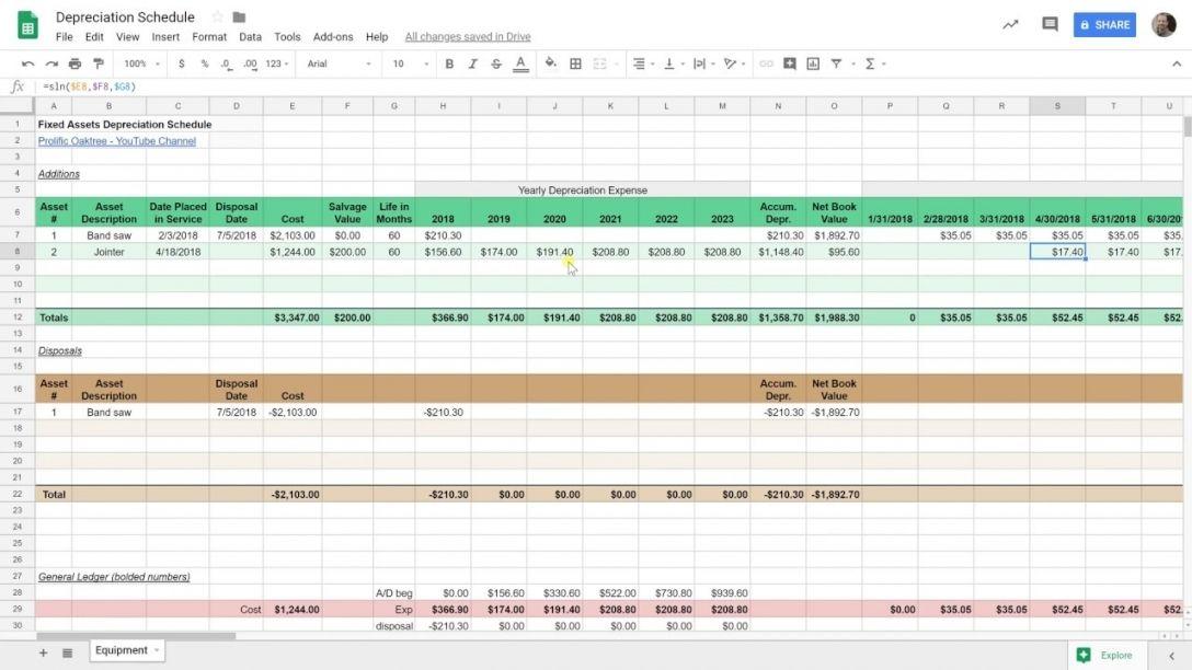 Monthly Depreciation Schedule Template