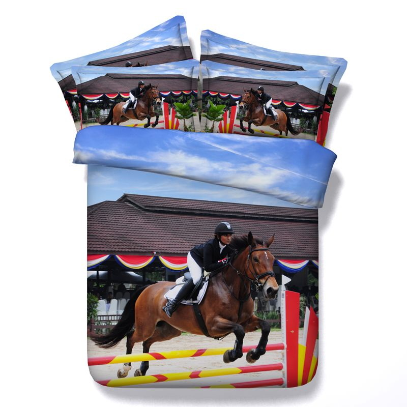 3D Horse Bedding Set Design Queen Size Bed Sheet Duvet