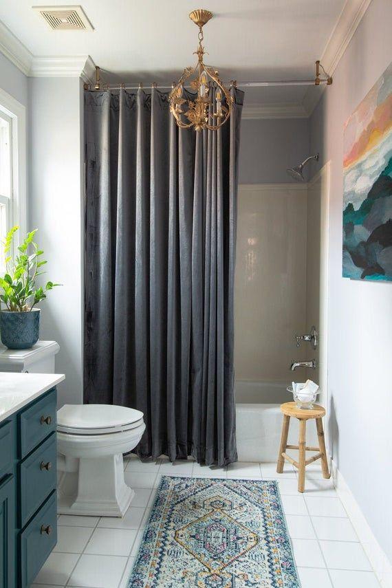 Velvet Shower Curtain Custom Made To Fit Waterproof Liner Option