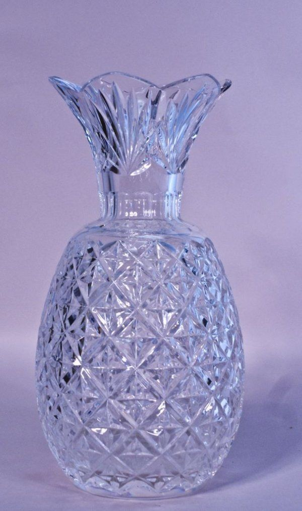 Waterford Cut Crystal Pineapple Hospitality Vase On Cut Crystal