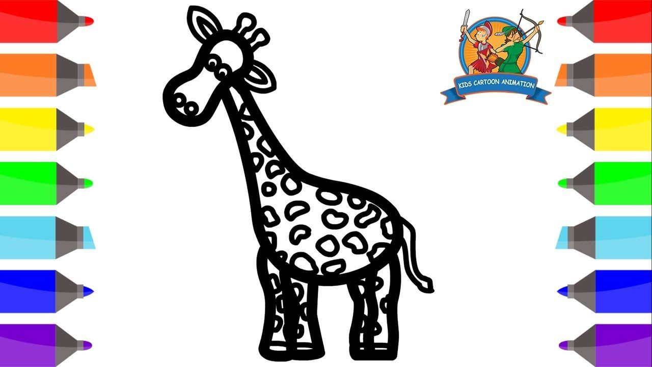 How to Draw a Giraffe Coloring Pages for Kids - Giraffe Drawing ...