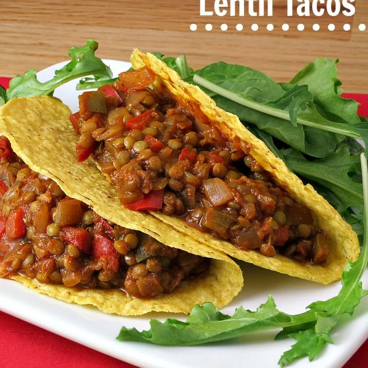 Lentil Tacos Recipe Main Dishes with yellow onion, garlic cloves, oil, dried lentils, chili powder, ground cumin, dried oregano, vegetable broth, diced tomatoes, salsa, taco shells, sour cream, cheese, tomatoes, lettuce