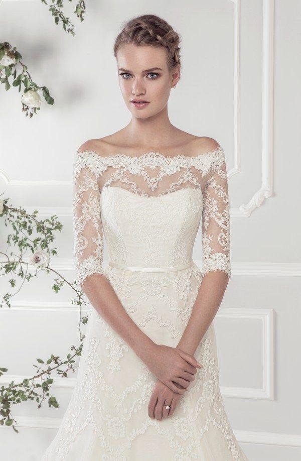 5f1e0cee1 Ellis Bridals Rose wedding dresses collection 2015 | Wedding dress 11418 – Elegant  off-the-shoulder lace A-line dress with delicate three quarter length ...