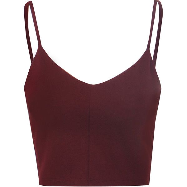 Burgundy Spaghetti Strap Crop Top (€20) ❤ liked on Polyvore featuring tops, crop tops, shirts, tank tops, burgundy, v neck shirts, burgundy shirt, going out crop tops, shirts & tops e night out tops