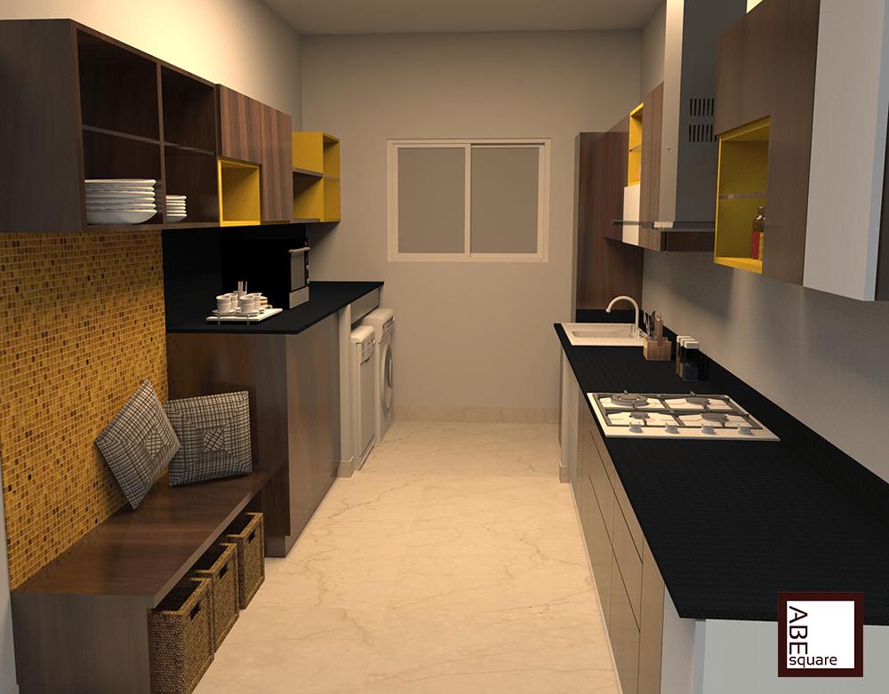 Cistin parallel shaped kitchen modular kitchen for Parallel kitchen ideas