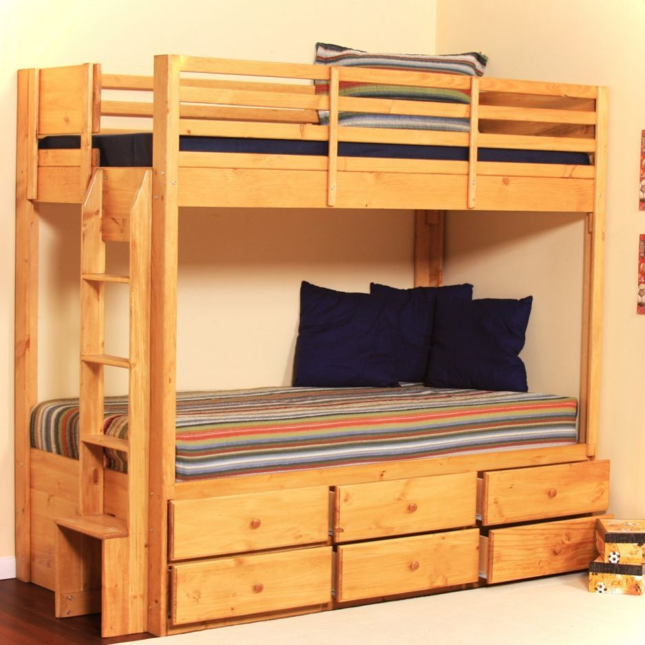 Furniture Charming And Chic Storage Bunk Beds Noticeable Wooden Twin Storage Bunk Bed With Nice 6 Drawers On Metal Tracks I Like The Double Drawers Quartos