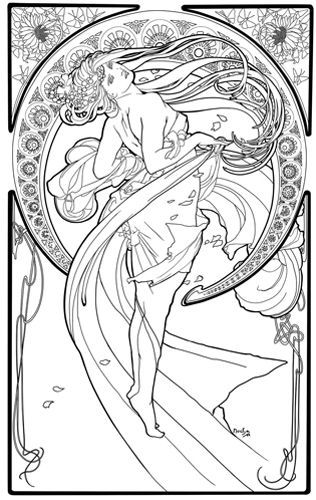 kleurplaat naar alfons mucha colouring picture amucha like the arts dance - Art Nouveau Coloring Book