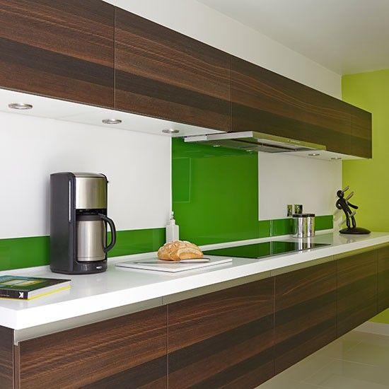 Oak Veneer Kitchen With Green Splashback Kitchen