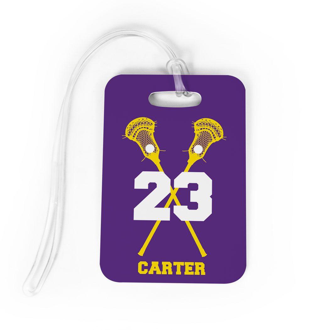 6891b1408550 Guys Lacrosse Bag/Luggage Tag - Personalized Guys Crossed Sticks ...