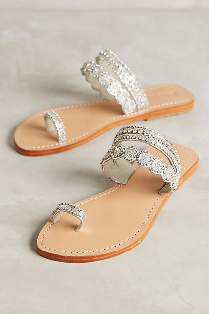 Mystique Jeweled Toe-Loop Sandals Silver 9 Sandals