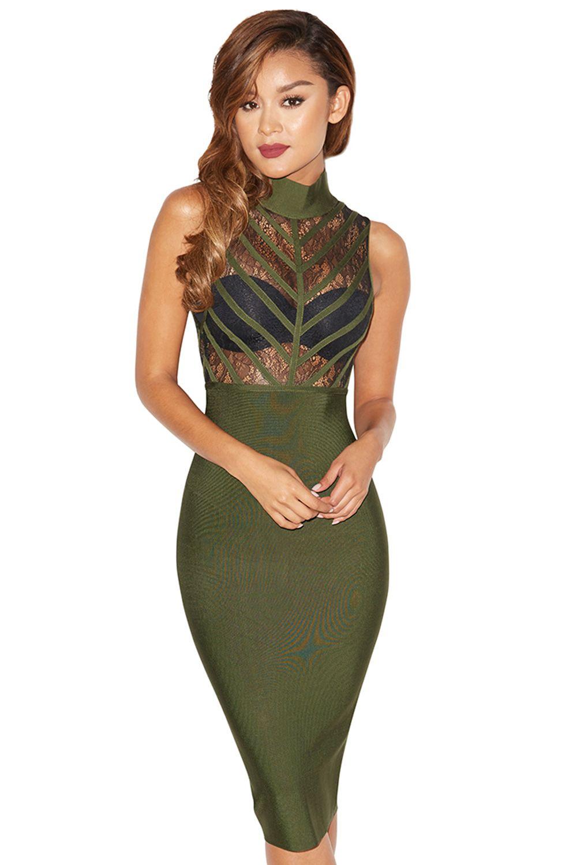 Clothing : Bandage Dresses : 'Dimitria' Khaki Lace and Bandage Dress