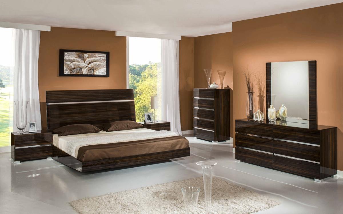 Modrest Excalibur Italian Modern Ebony Lacquer Bedroom Set