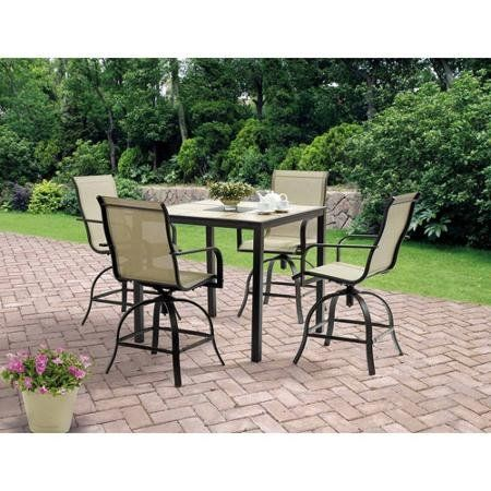 5 Piece High Patio Furniture Dining Set Square Tiles Balcony Bar Table 4