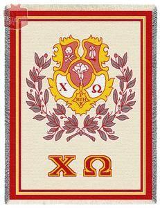 Chi Omega Crest Throw Afghan Blanket   Chi Omega till I die