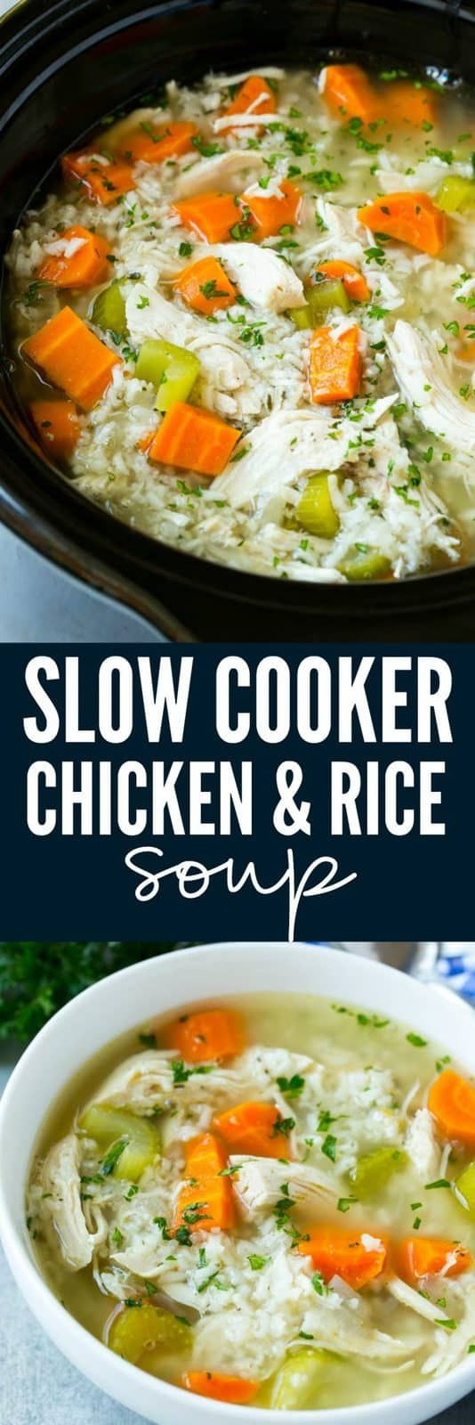 Slow Cooker Chicken and Rice Soup #ricecookermeals