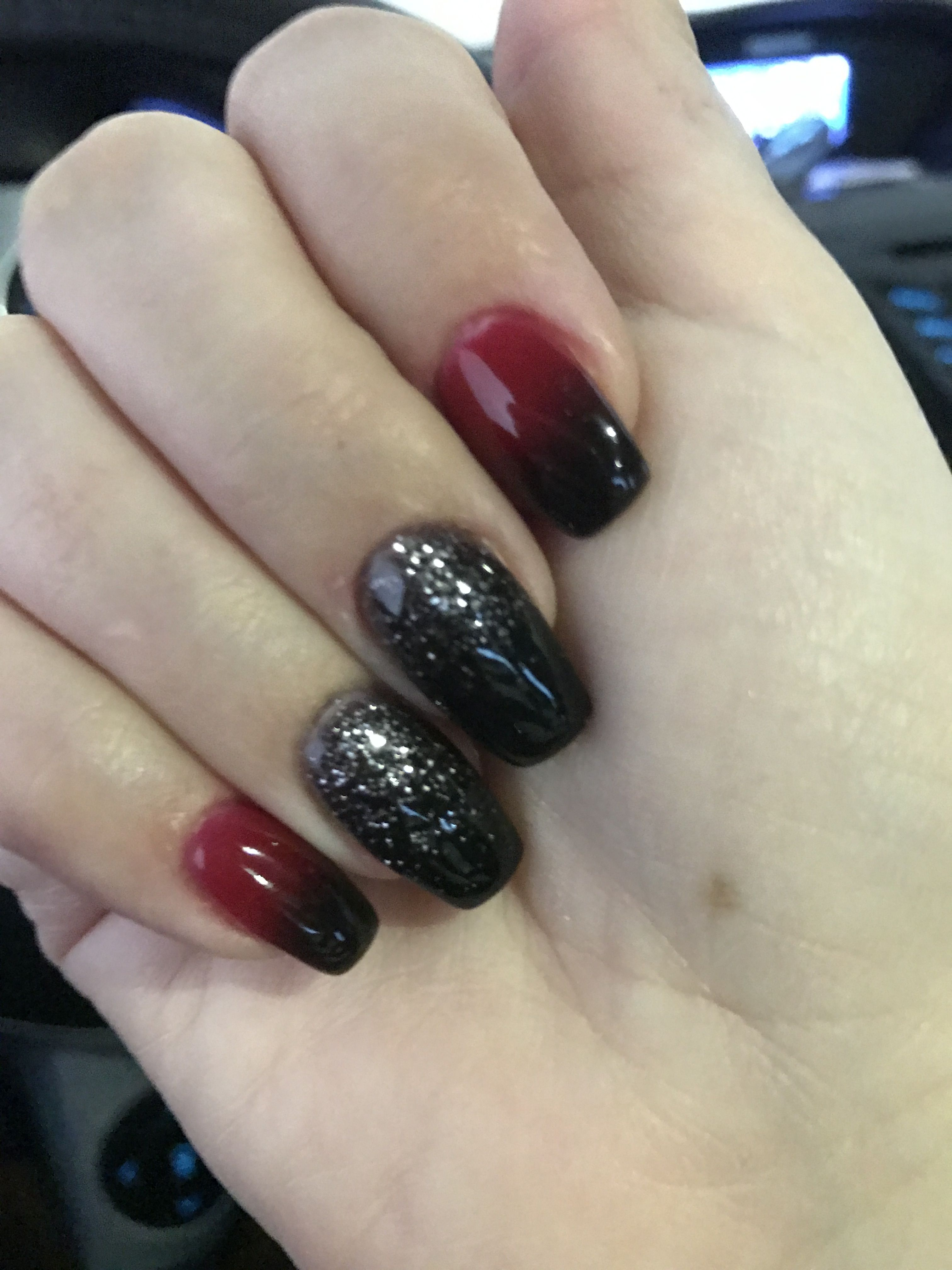 Nexgen Halloween Nails Black Red Ombre And Black Black W Silver Glitter Ombre Red Ombre Nails Halloween Nails Black Ombre Nails