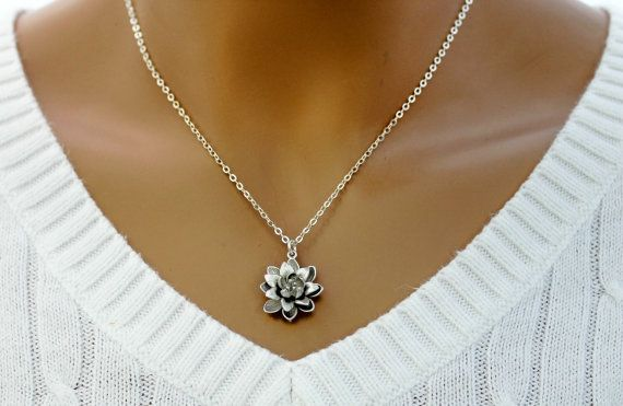 Water Lily Flower Pendant Silver Lotus Flower Necklace,Simple Everyday Necklace,Sterling Silver Chain Bridesmaid Gift Good Luck Charm