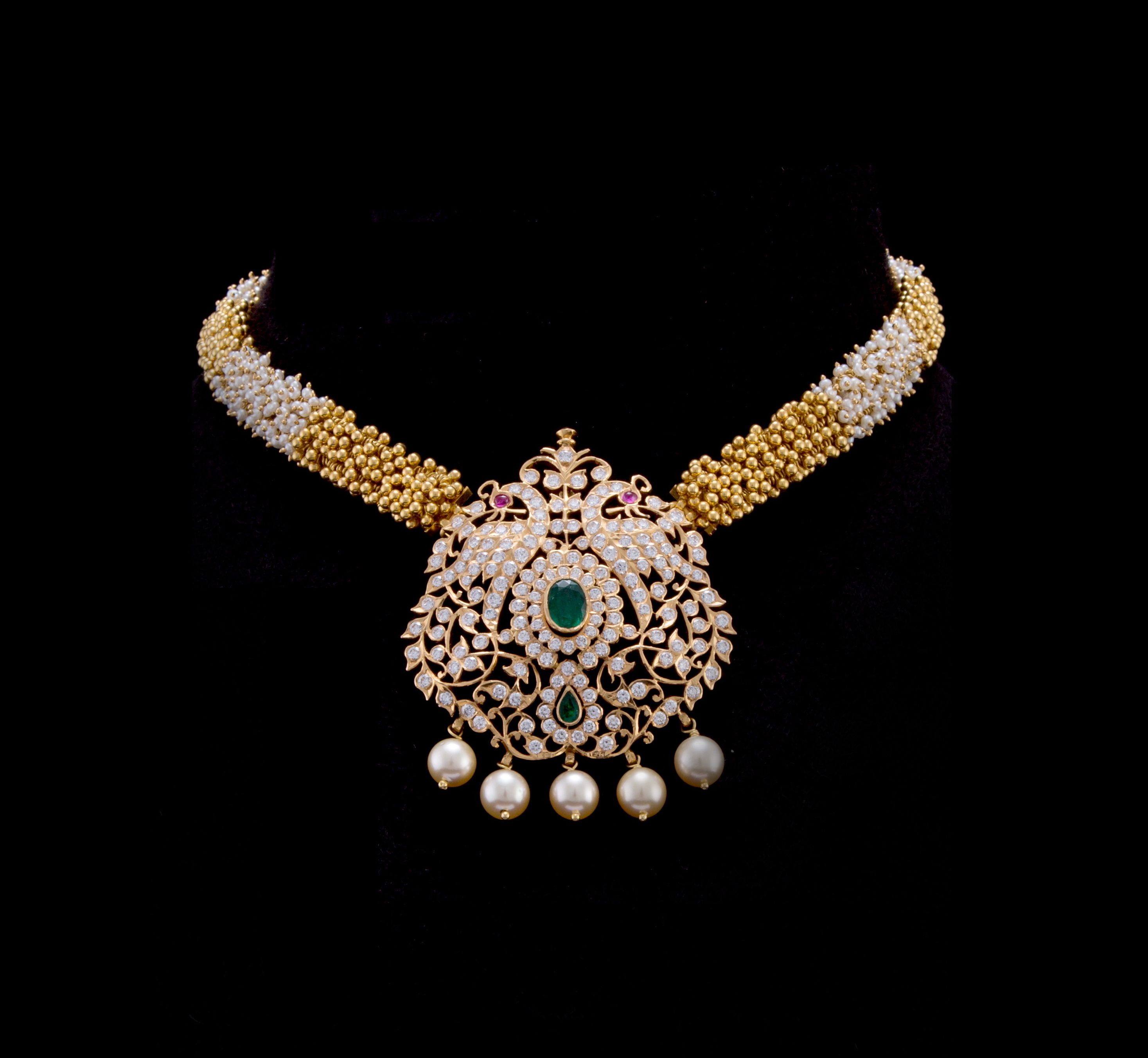 designs nac indian diamond jewellers pin gold from bridal necklae necklace