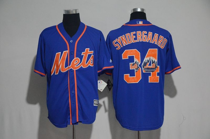 new style 34ee8 3f997 2017 MLB New York Mets 34 Syndergaard Blue Fashion Edition ...