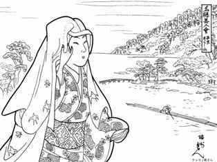 西京あらし山の美人画の塗り絵の下絵、画像