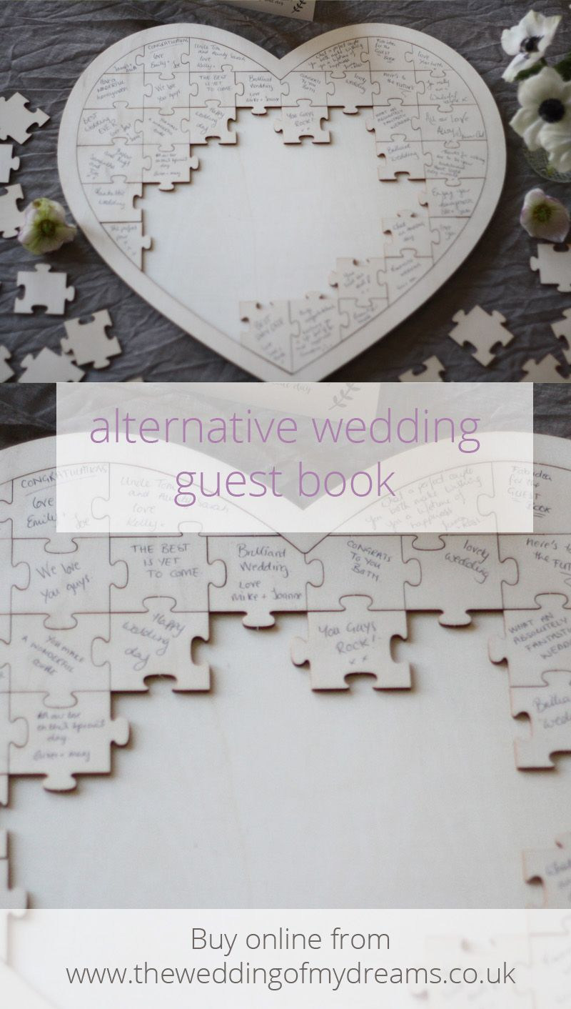 Wooden Heart Jigsaw Puzzle Wedding Guest Book | Pinterest | Books ...