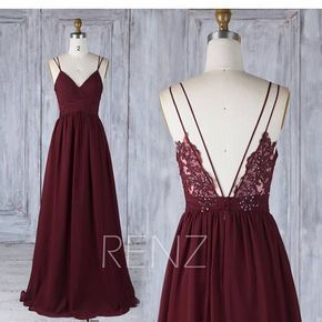 Wedding Dress Boho Lace Burgundy Bridesmaid Dress Long Backless Spaghetti Strap Bridesmaids Dresses (H549A) #lacechiffon