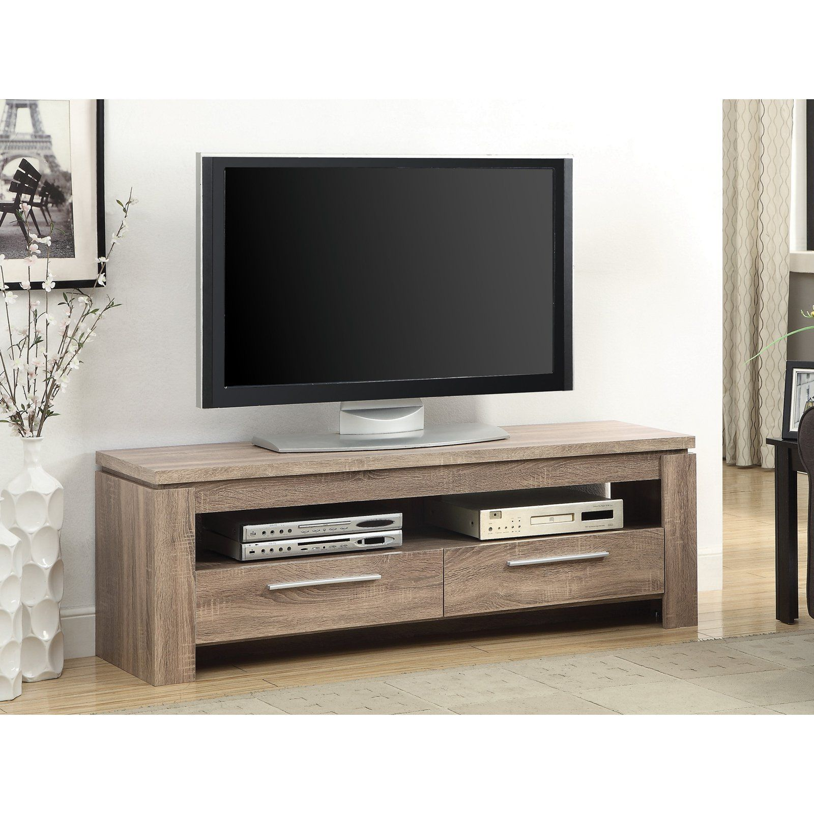 Coaster Furniture Low Profile Media Console With 2 Drawers Tv Stand Wood Solid Wood Tv Stand Rustic Tv Console