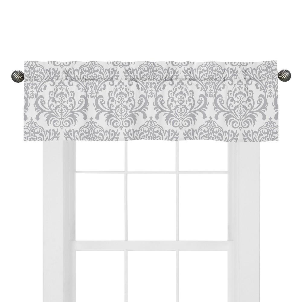 Gray And White Damask Window Valance Curtain For Sweet Jojo Skylar Bedding Sets