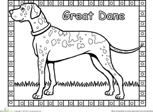 Great dane coloring page pinterest worksheets dog for Great dane coloring pages