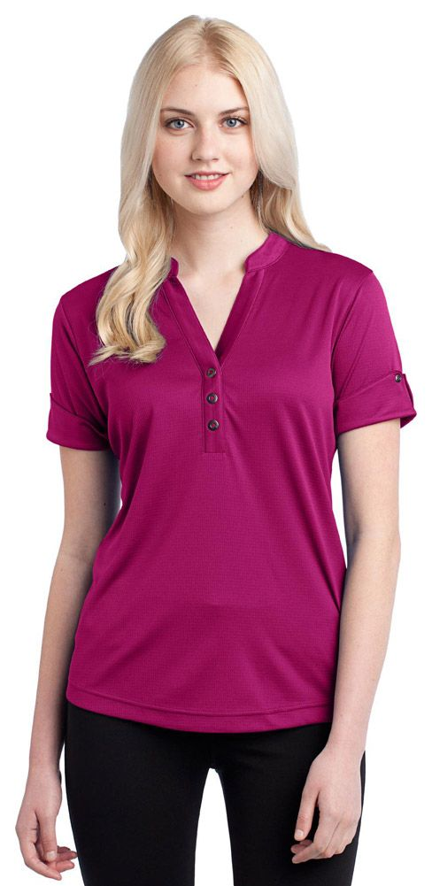 This feminine top will receive appreciative gazes thanks to its edgy look. |    3.8-ounce, 100% poly double knit with stay-cool wicking technology   OGIO heat transfer label for tag-free comfort   3-snap placket with O debossed ring snaps   Set-in sleeves with reverse self-fabric cuffs and O debosse