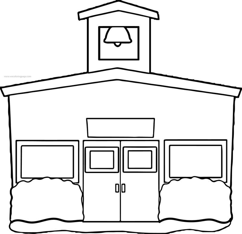 Front View School Building Coloring Page