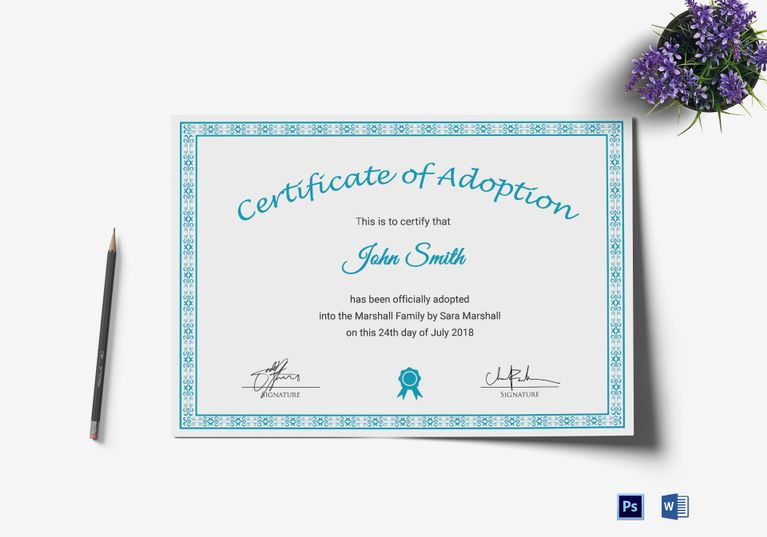 Printable Adoption Certificate Template  Formats Included