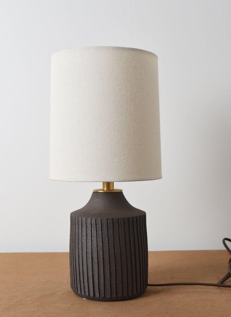 Small Carved Dark Raw Clay Lamps Mmhp Ceramics Lamp Small Lamp Custom Shades
