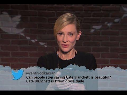 Celebrities read mean tweets written about them:  George Clooney, Jon Hamm (Mad Men), Jennifer Garner, John Goodman (Roseanne), Tom Hanks, Cate Blanchett, Matt damon