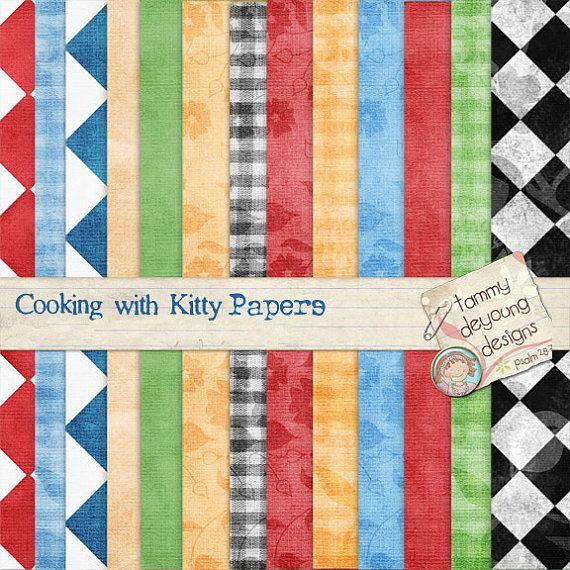 Digital Bistro Papers *Kitchen Cooking themed backgrounds gingham, checkerboard, red blue green black & white