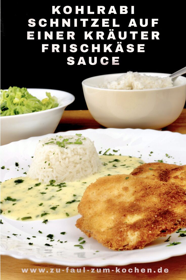 Kohlrabi schnitzel on a herb cream cheese sauce  too lazy to cook  It doesnt always have to be meat Schnitzel can also be enjoyed vegetarian like this delicio