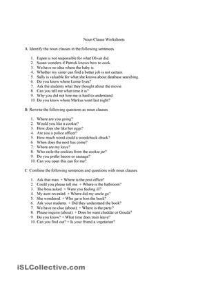 Noun clauses worksheet.