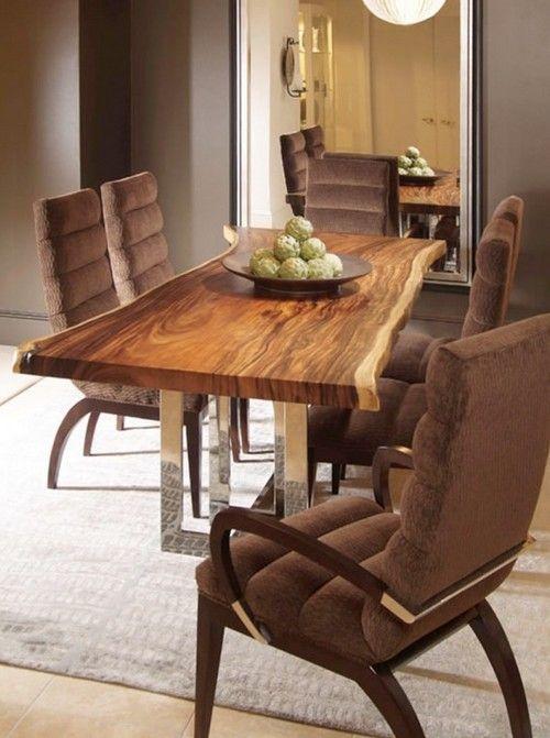 эксклюзивный стол из массива и металлические ножки дерево