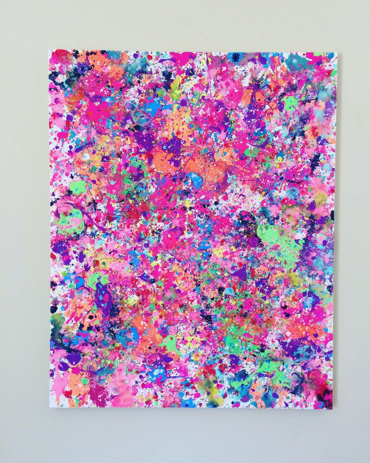 Abstract Pink Art Neon Painting Pink Splatter Art Original Pink Art Pink Large Painting Acrylic Canvas Splatter Art Paint Splatter Art Flower Painting Original