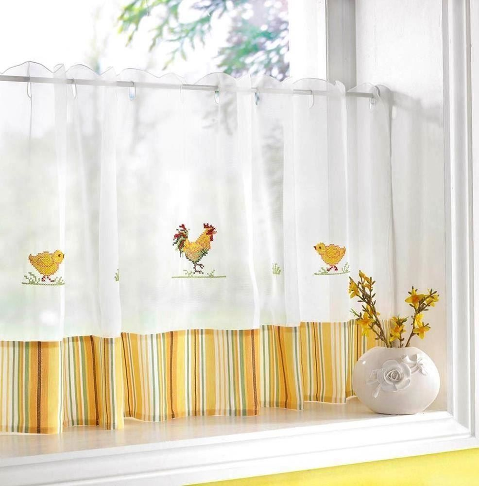 Rooster chickens yellow white kitchen embroidered w x d