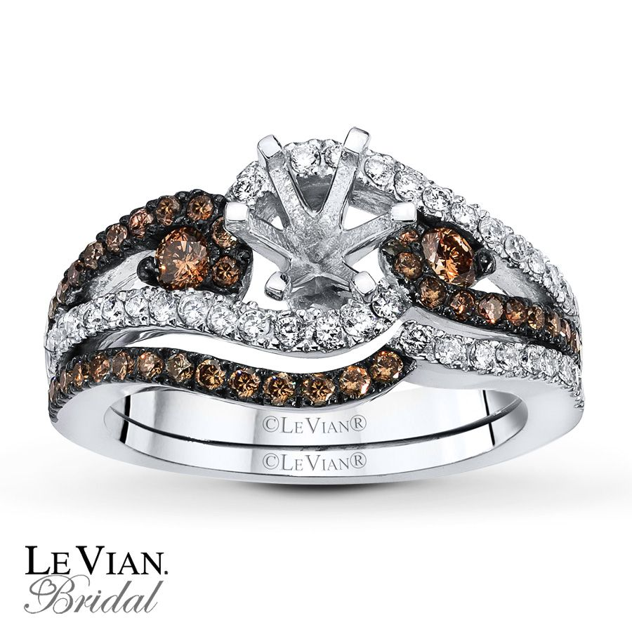 Jared Levian Chocolate Diamonds 5 8 Ct Tw Bridal Setting 14k Gold