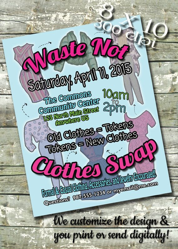 Clothes Swap Meet Flyer EVENT POSTER Digital by DitDitDigital - clothing drive flyer template