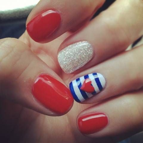 Red, White and Blue with Glitter and a Heart, Red nail polish with 2 accent  nails: silver glitter, and blue and white stripes with a red heart. - Heart Nail Design Red Nail Polish With 2 Accent Nails: Silver