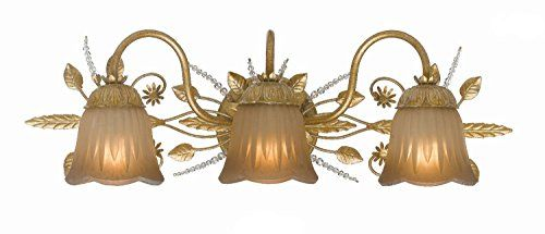 Crystorama Lighting 4743 Gl Primrose 3lt Vanity Fixture Gold Leaf Finish With Tea Stained Shades And Swarovski Spectra Crystal Accents