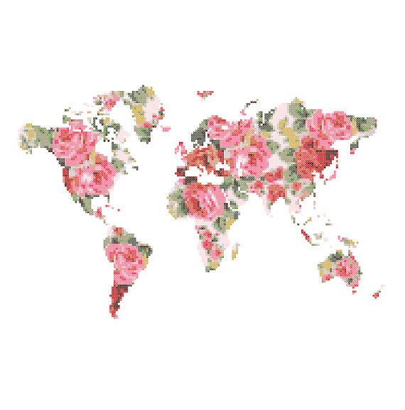 World Map Cross Stitch Pattern modern cross stitch pattern Floral