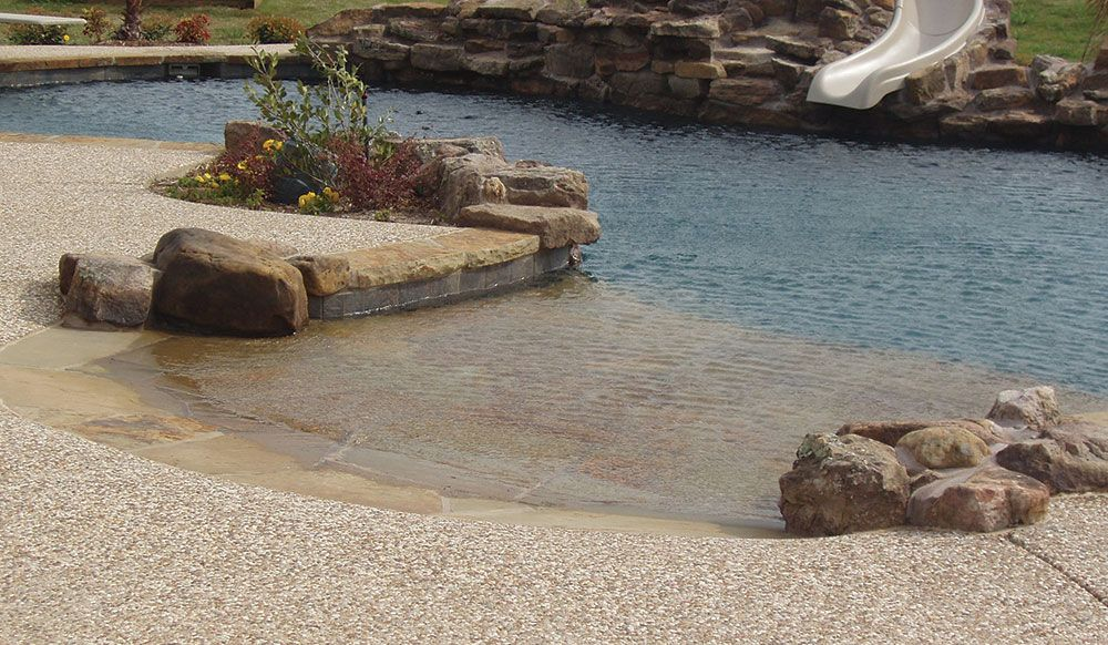 Pulliam pools custom pool design photo pulliam 312 free for Pool design with beach entry