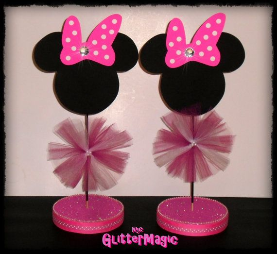 1 Minnie Mouse Pink Polka White Dots Centerpiece Minnie Mouse