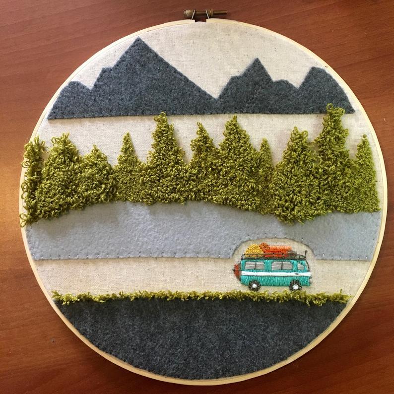Camper Decor / Volkswagen VW Bus / Camper Embroidery Hoop Art for Wall – Aqua Teal Turquoise – Camper Van Decor – Mountains trees landscape
