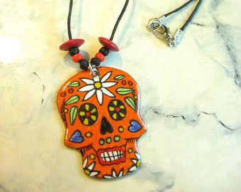 33168f4ad Skull pendant, sugar skull, sugar, copper enamel, skull pendant orange,  colored during